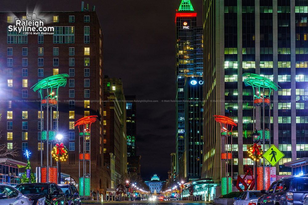 Downtown Raleigh lit up for Christmas