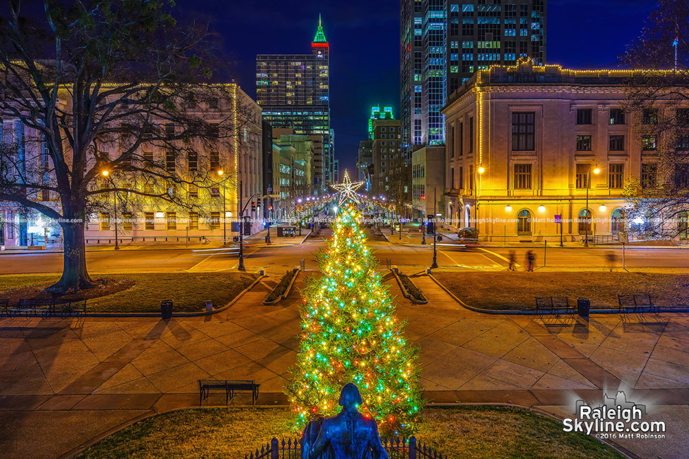 North Carolina State Capitol Christmas tree with downtown Raleigh