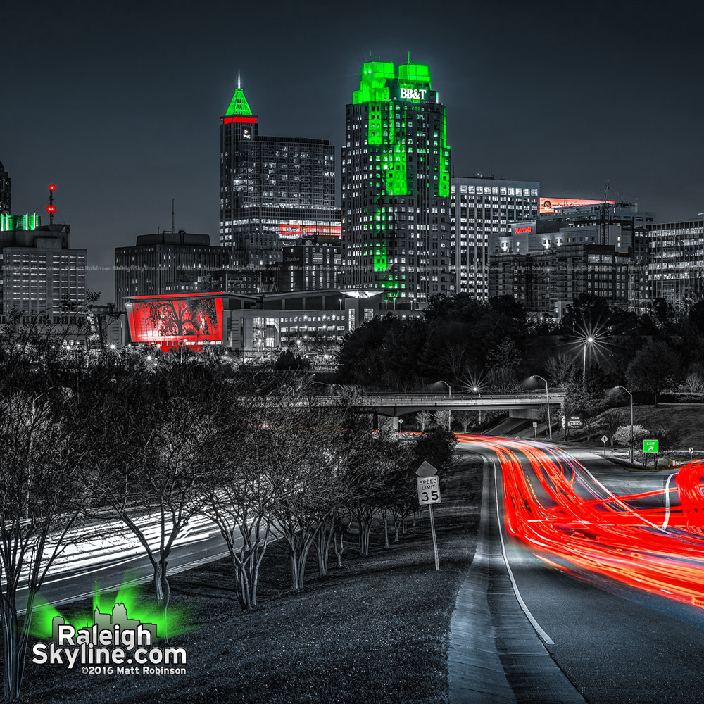 Downtown Raleigh Skyline Black White Red and Green