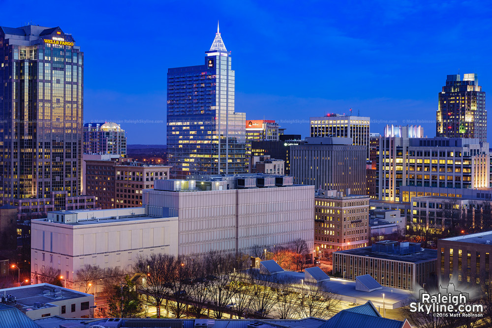 Downtown Raleigh Skyline at dusk 2016