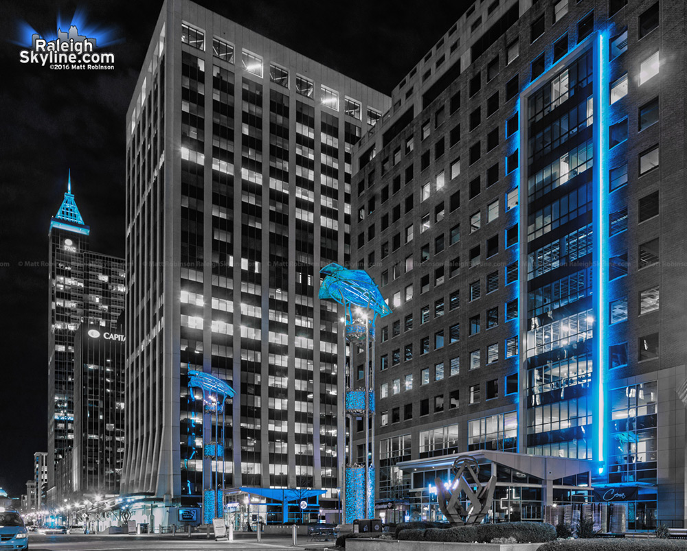 Raleigh lit up blue for the Carolina Panthers Superbowl appearance