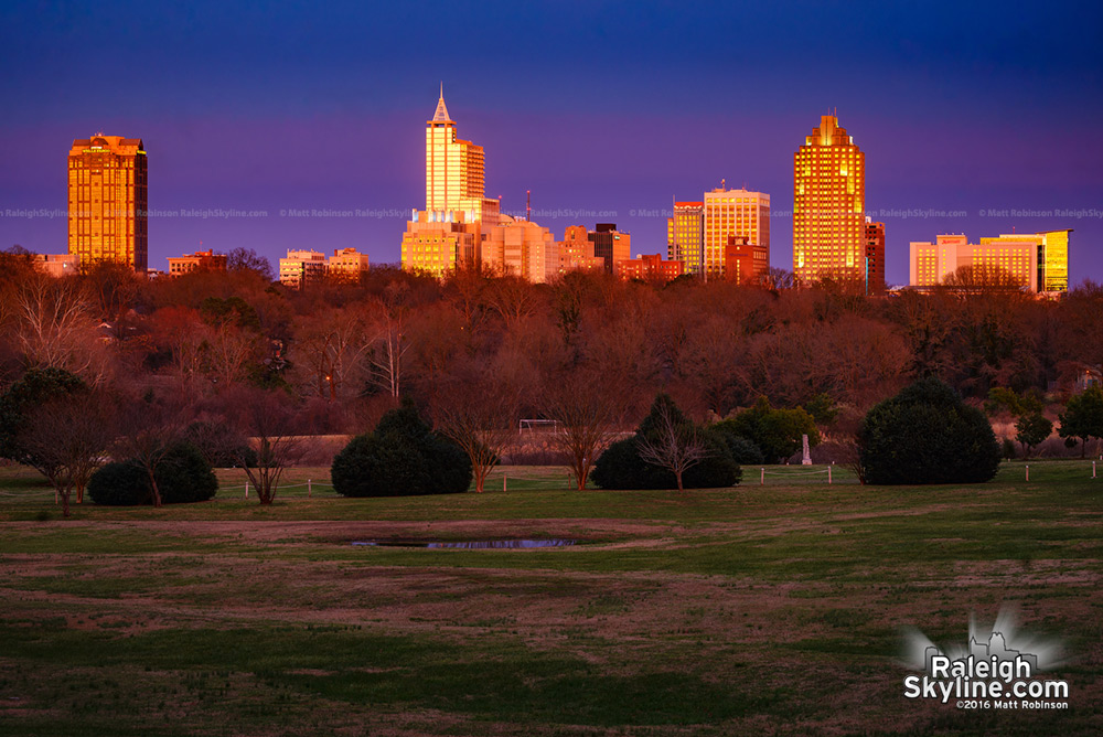 Raleigh buildings reflect the setting sun