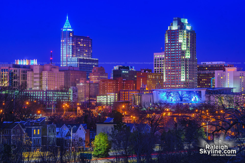 PNC Plaza lit up blue for the Carolina Panthers