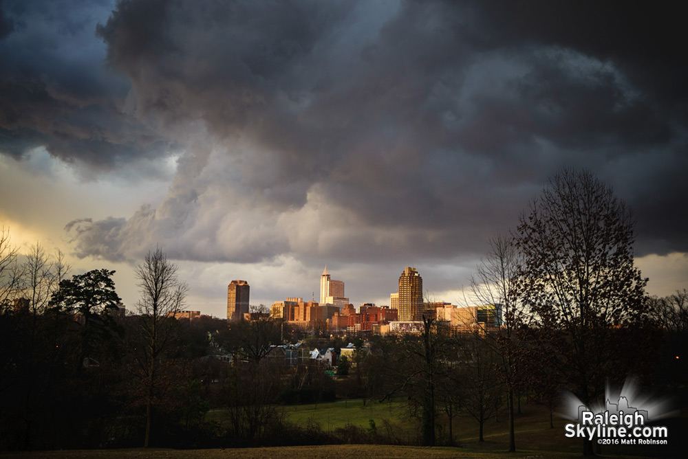 Last line of storms passing through Raleigh at sunset on February 24, 2016