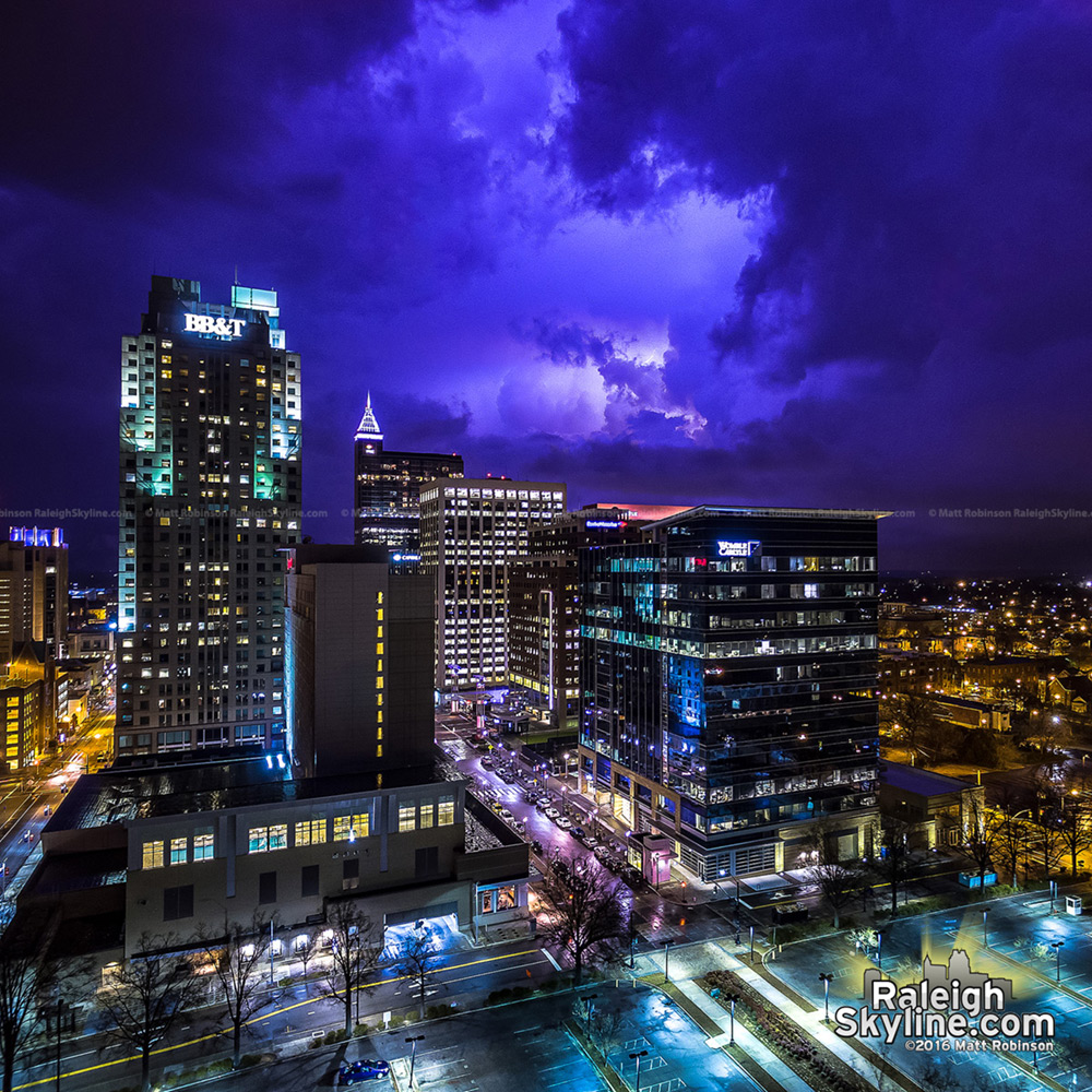Lightning lights up the skies over downtown Raleigh