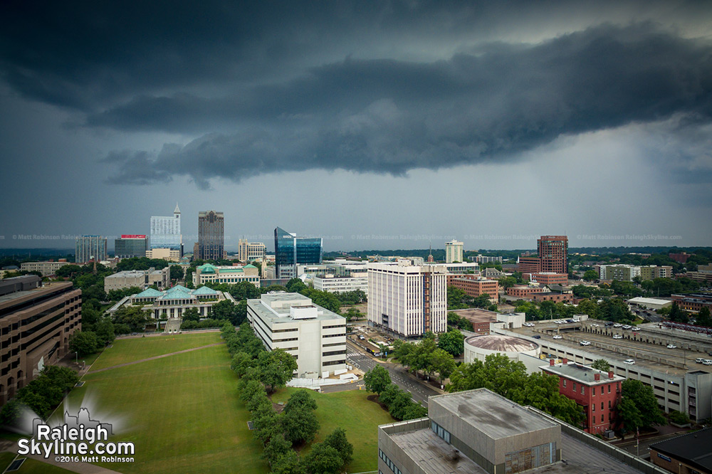 Storm clouds approach downtown Raleigh from Halifax Mall