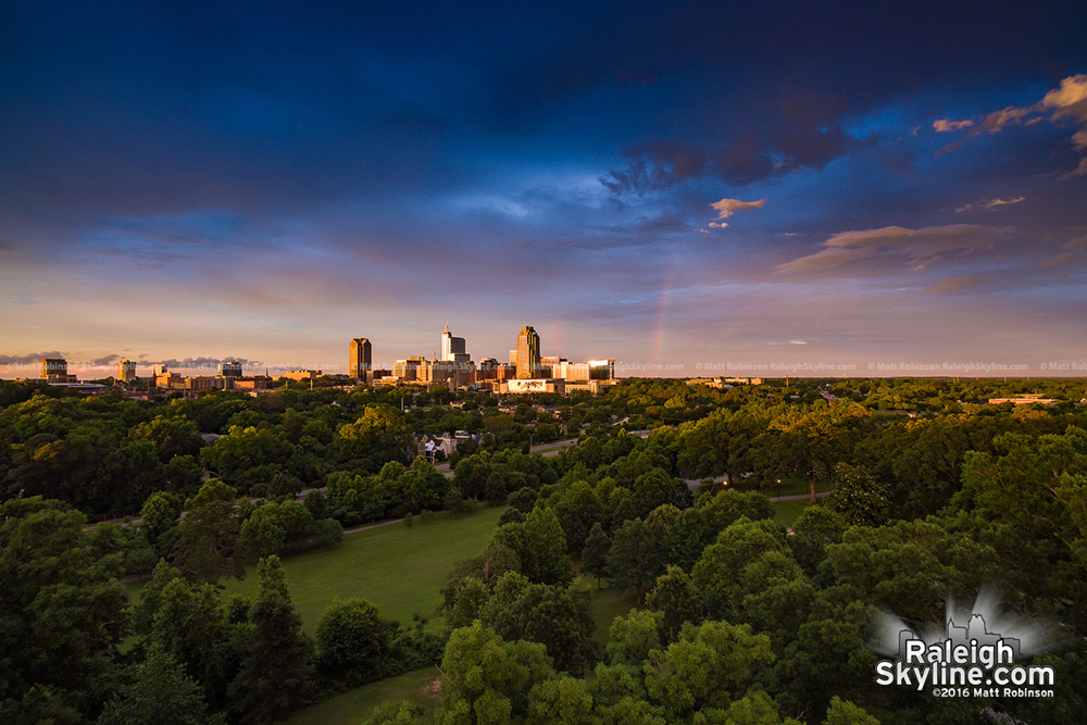 Rainbow over Raleigh with Sunset from Dorothea Dix Park
