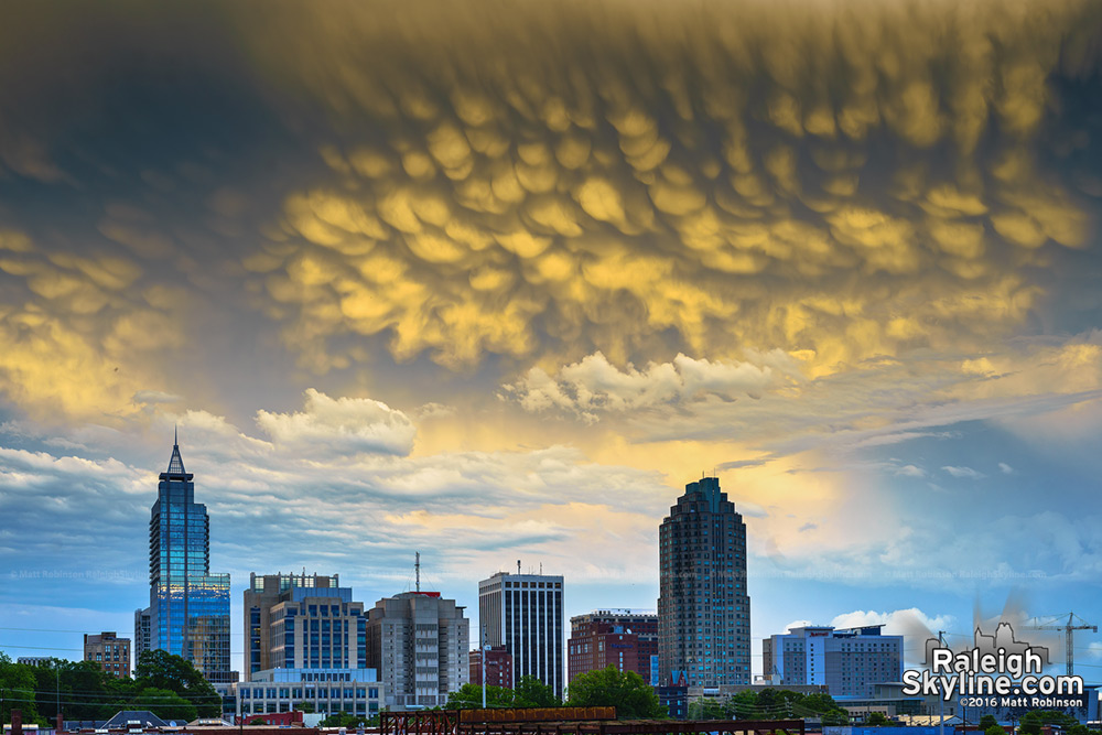 Mammatus Clouds over downtown Raleigh