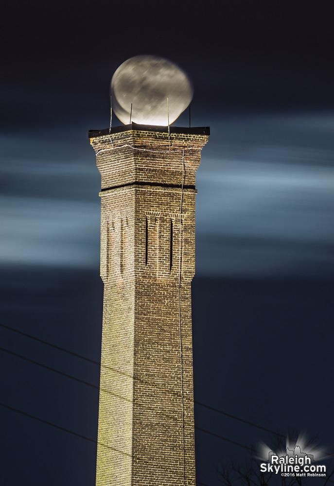 Moonrise over Caraleigh Mills smokestack