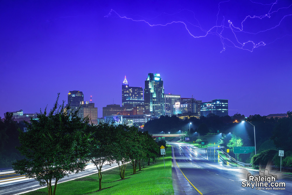 Tangled lightning bolt over the skyline