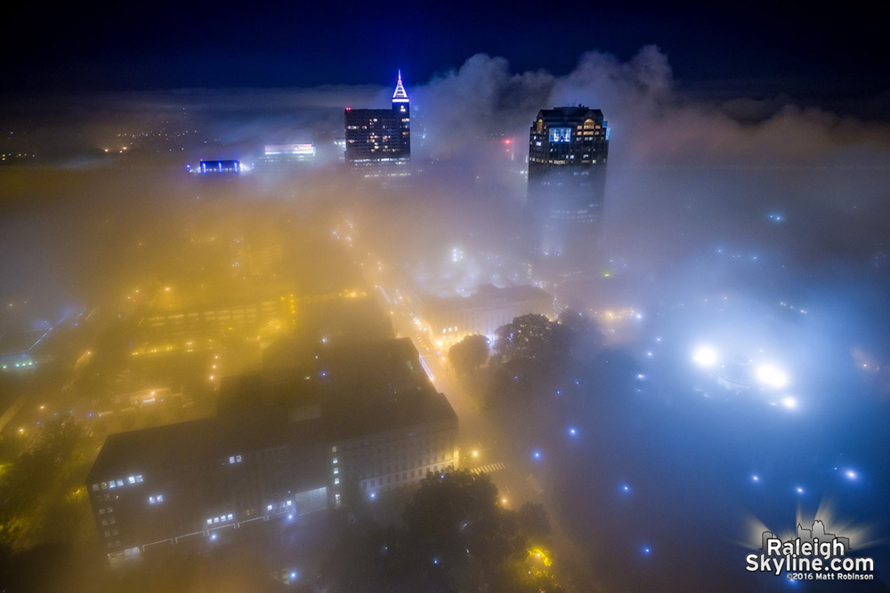 Fog covers the streets of downtown Raleigh