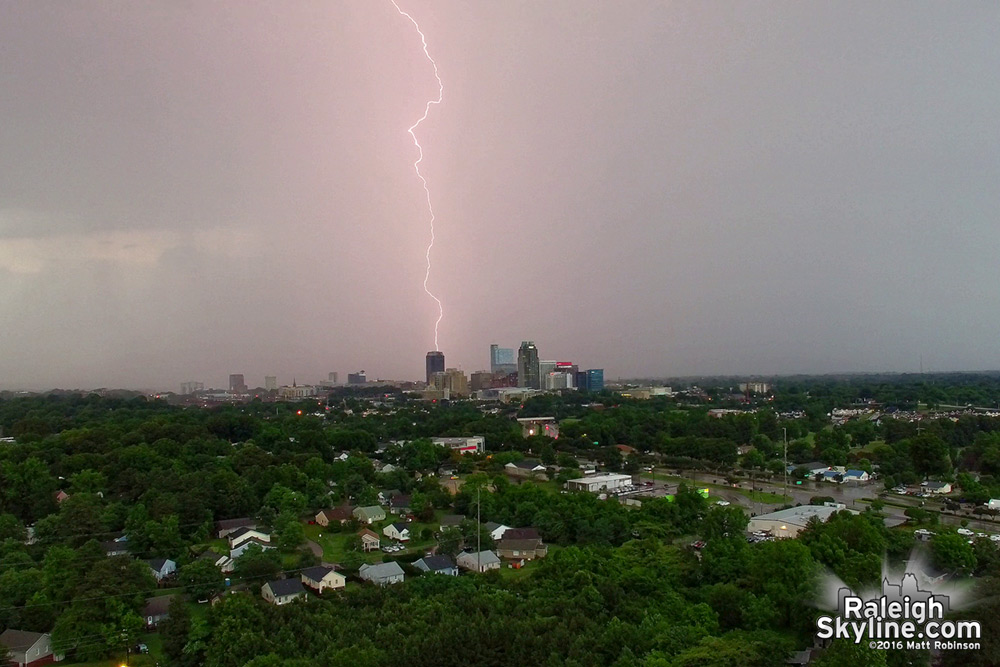 Several thousand foot tall lightning strike over the Raleigh Skyline