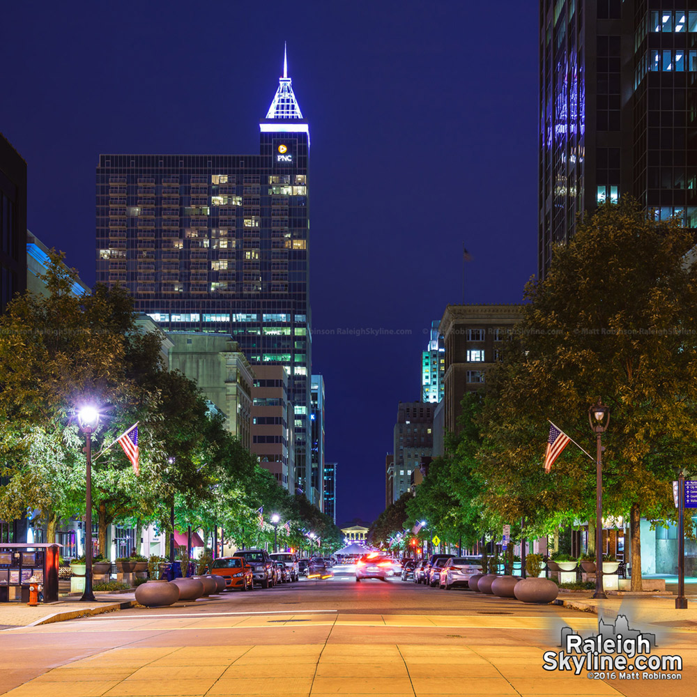 Looking South down Fayetteville Street at night