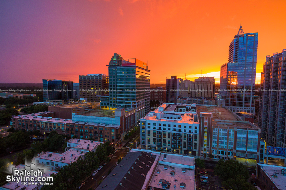 Orange sunset sky over Raleigh