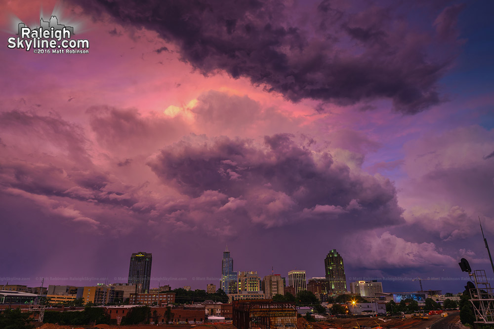 Purple and Pink sunset over Raleigh