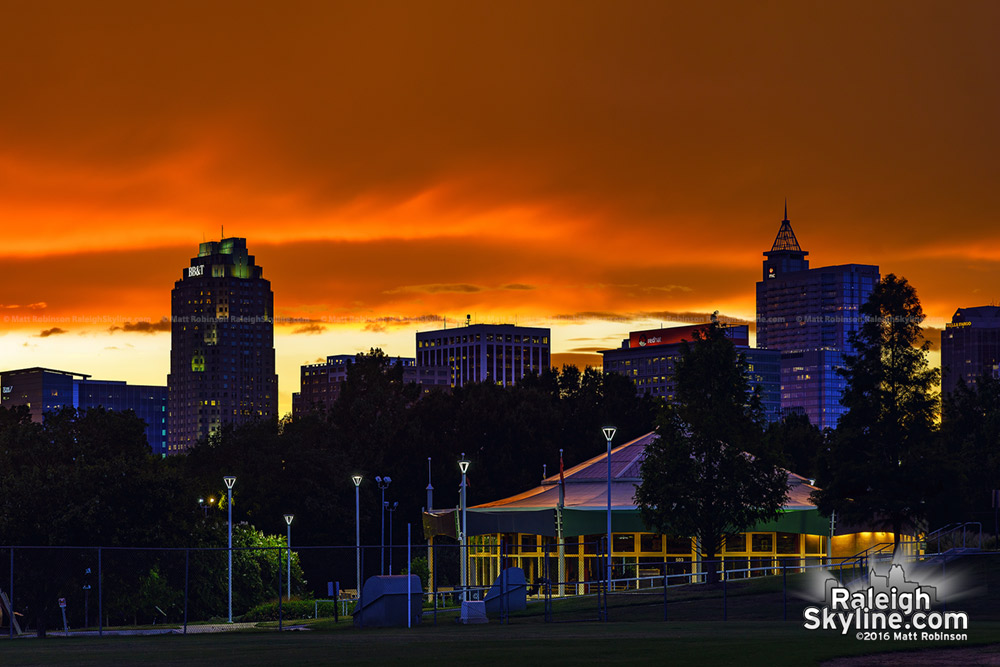 Brilliant Sunset over downtown Raleigh with Chavis Park Carousel