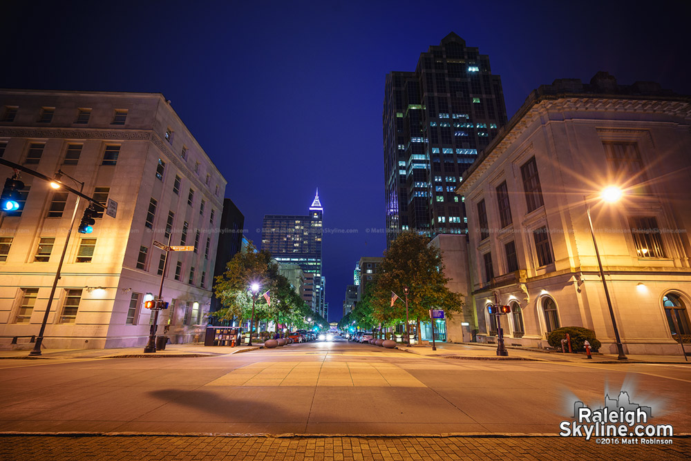 Fayetteville Street at night