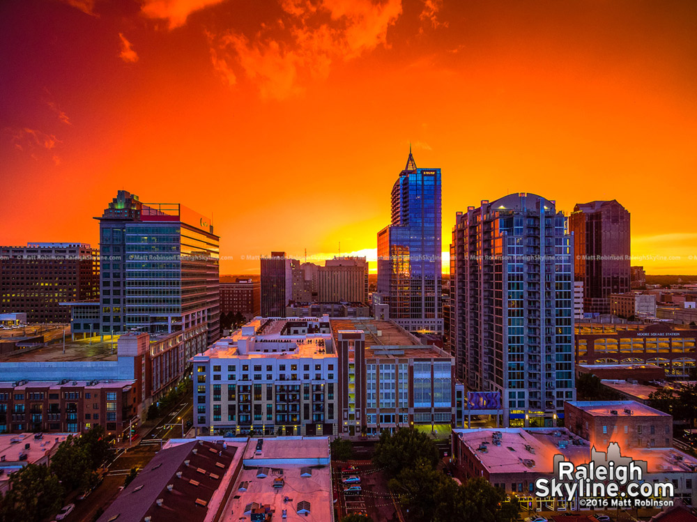The Best summer sunset of 2016 with downtown Raleigh