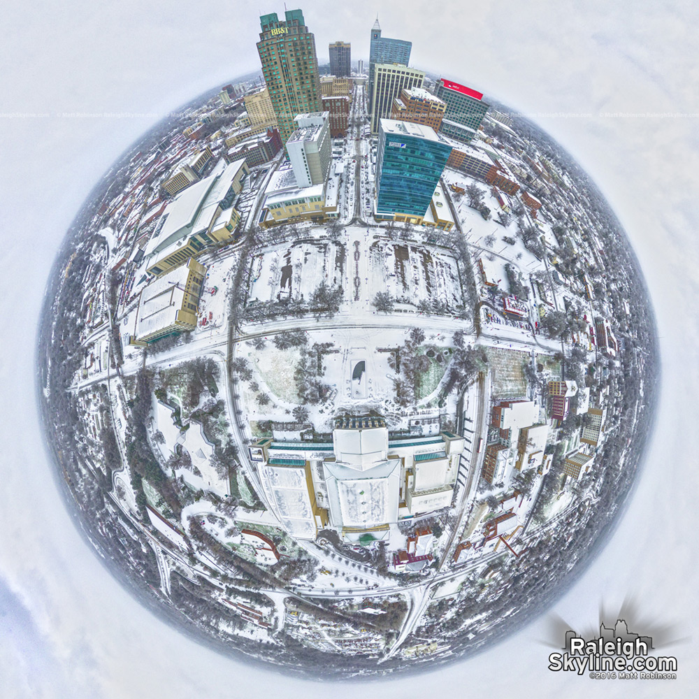 Downtown Raleigh Snow Globe January 23, 2016