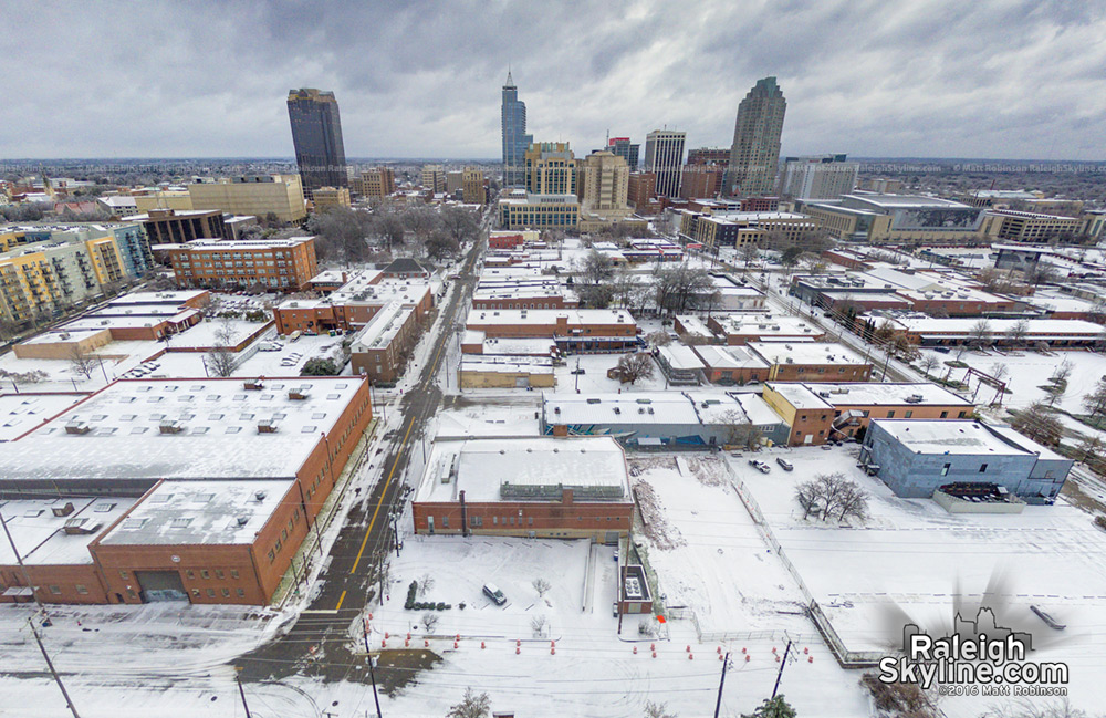 Warehouse District in the snow