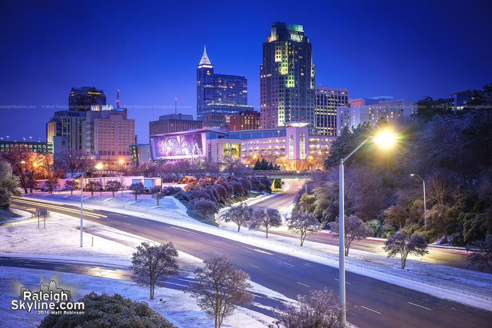 Raleigh at night 2016 with snow