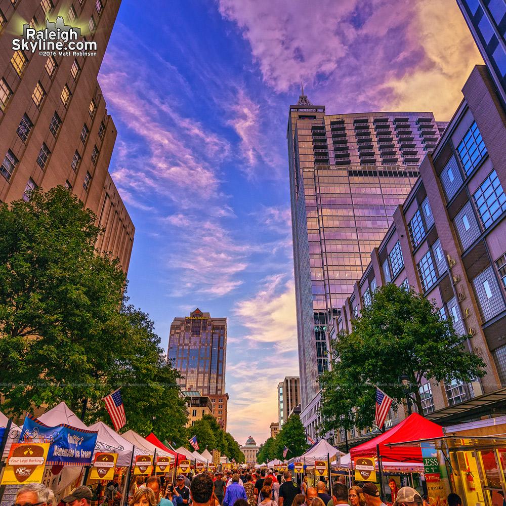 Sunset on Raleigh's Fayetteville Street during the International Bluegrass Music Festival