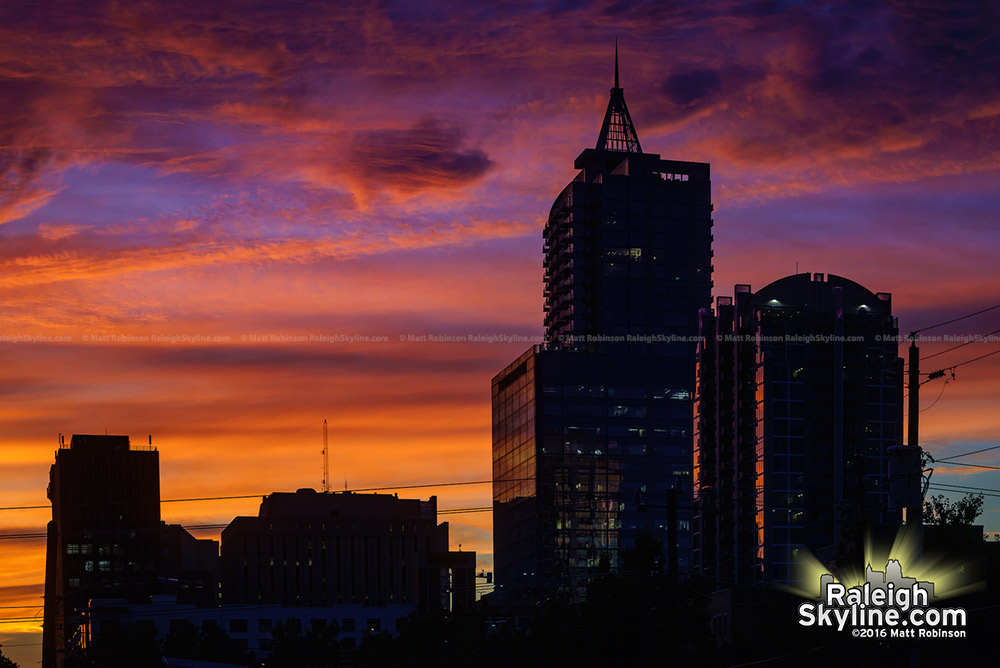Downtown Raleigh at sunset
