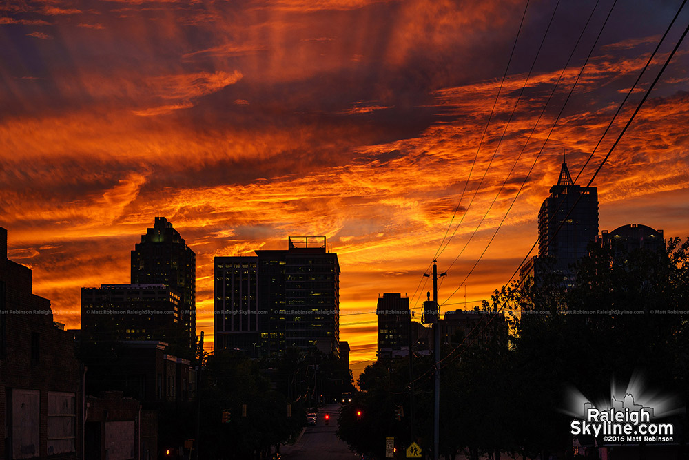 Vivid Sunset Behind Downtown Raleigh