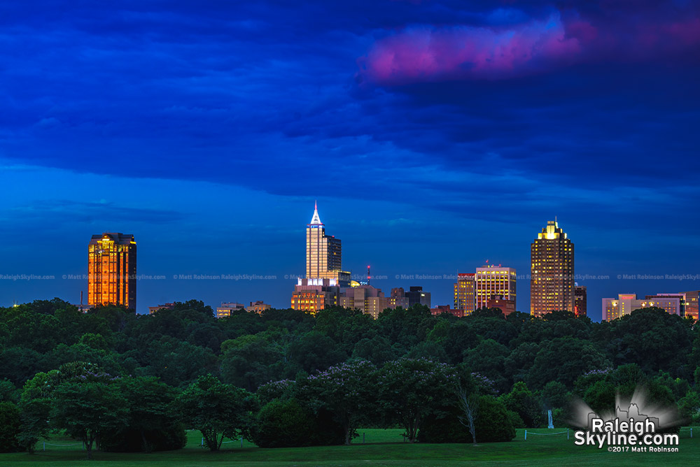 Downtown Raleigh Sunset on May 28, 2017 from Dorothea Dix