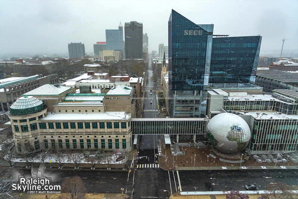 SECU and Downtown Raleigh in light spring snow