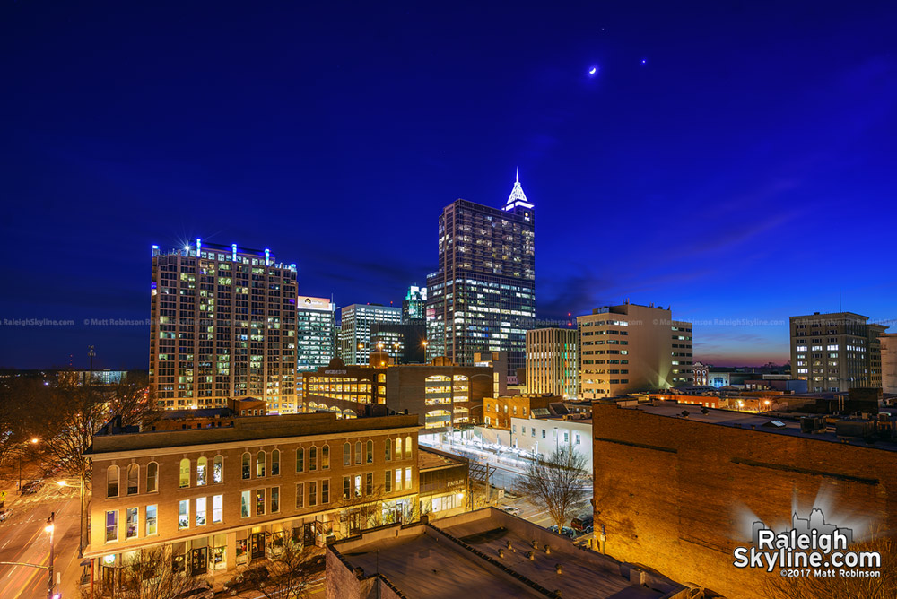 Moon, Mars, and Venus over downtown Raleigh at dusk