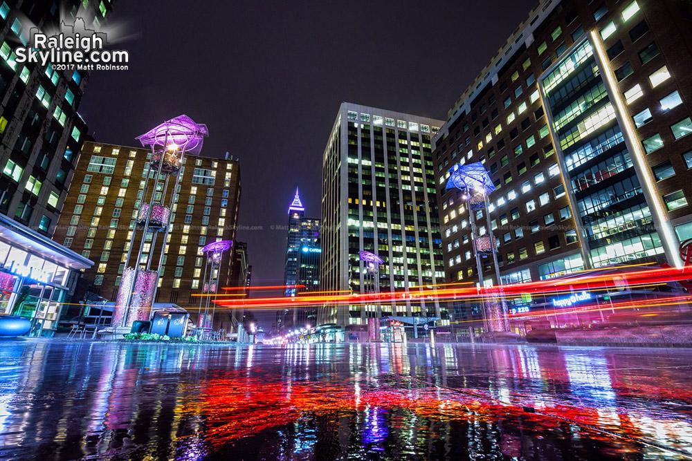 Brake lights in City Plaza in the Rain