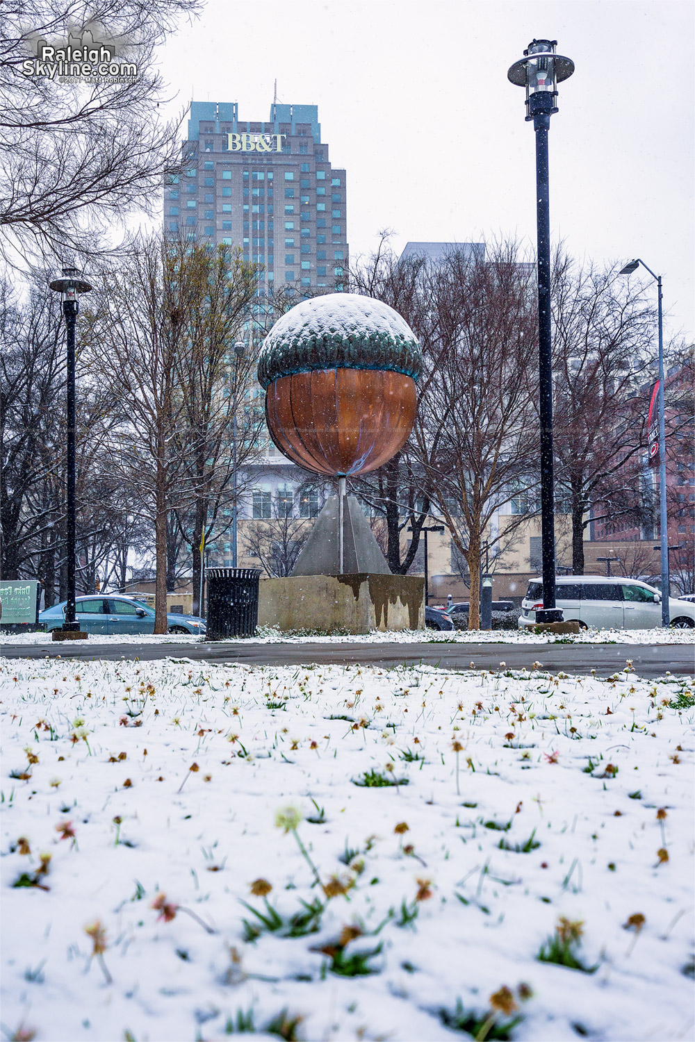 Giant acorn in the snow