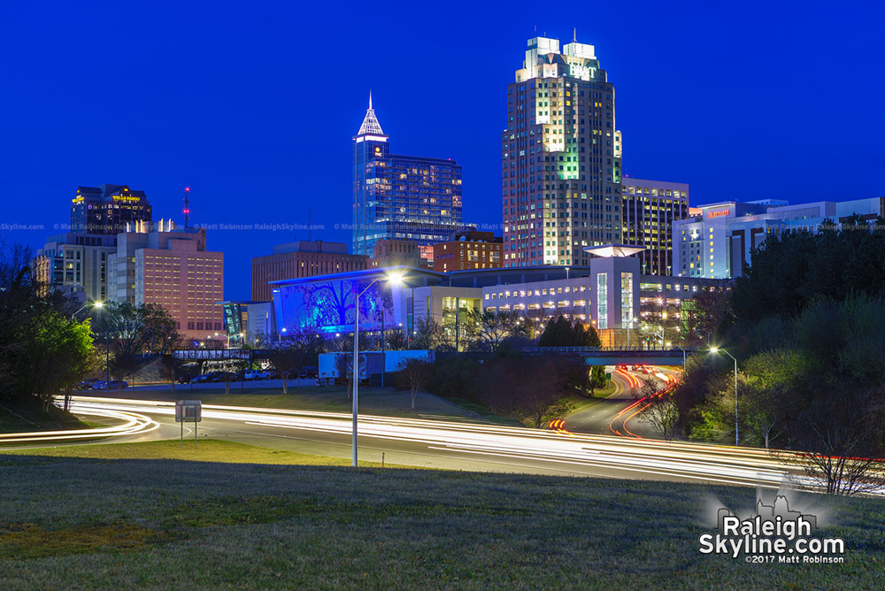 Raleigh skyline at night 2017