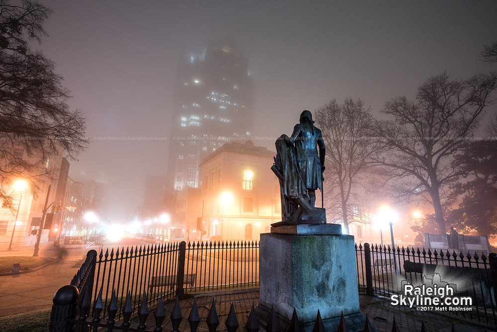 Raleigh fog with George Washington Statue look on Fayetteville Street