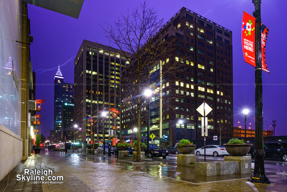 Match lightning over Fayetteville Street
