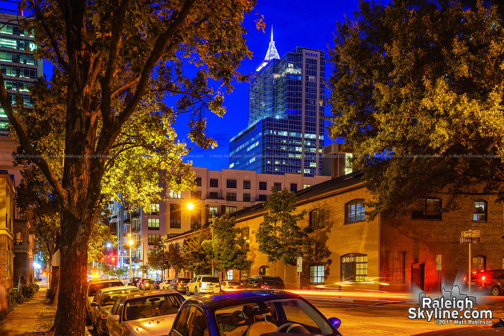 Autumn night in Downtown Raleigh from East Davie Street