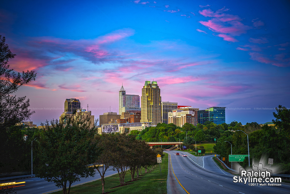 Pink sunset over Raleigh