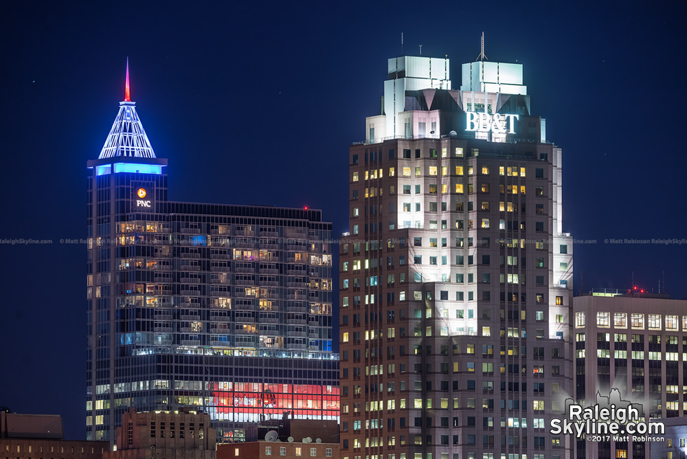 Red White and Blue PNC Plaza crown with BB&T Building