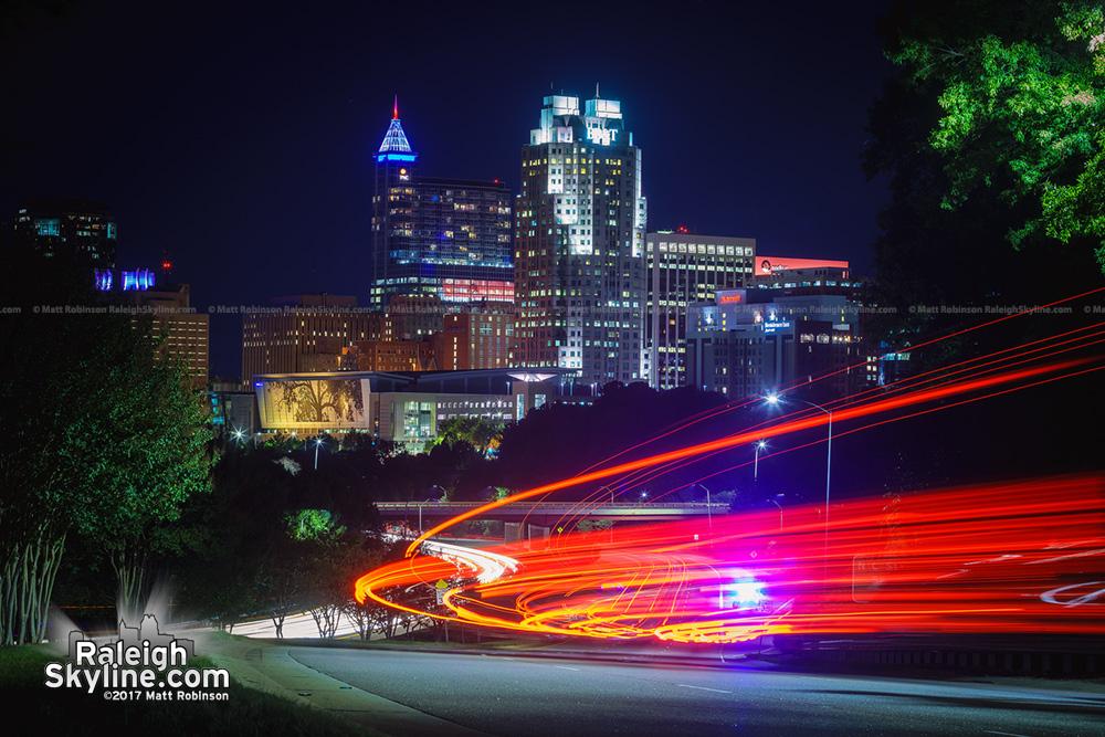 Brake lights into Raleigh