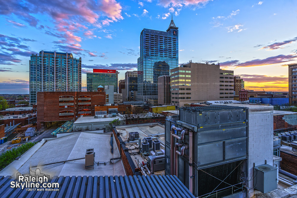Downtown Raleigh spring sunset