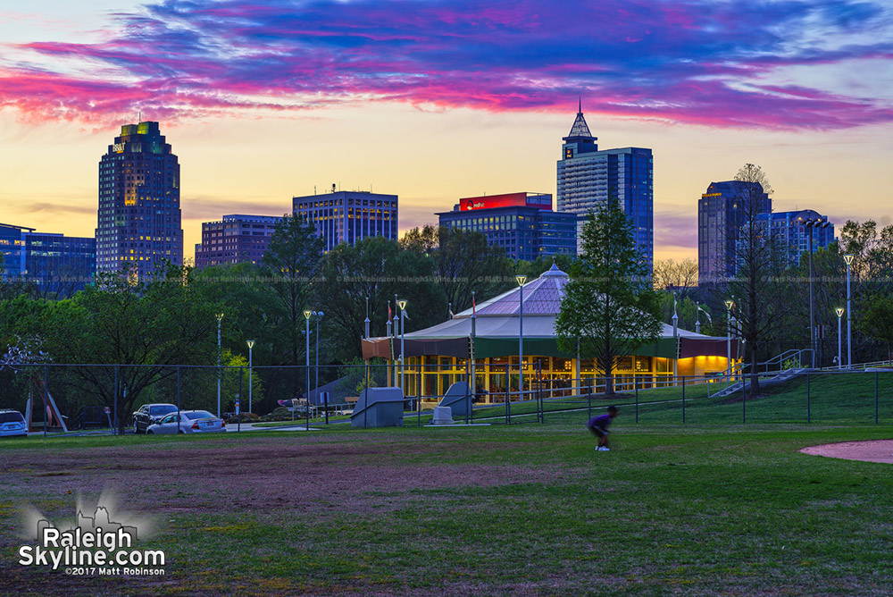 A Raleigh sunset from Chavis Park