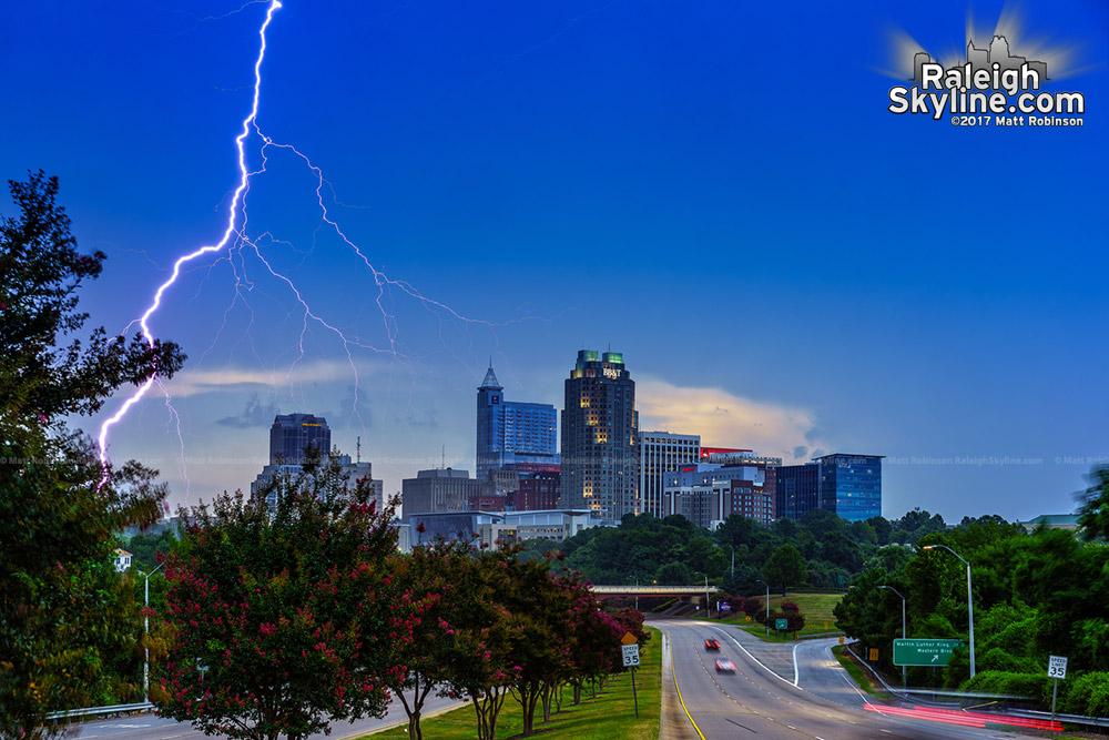 Lightning strikes near downtown