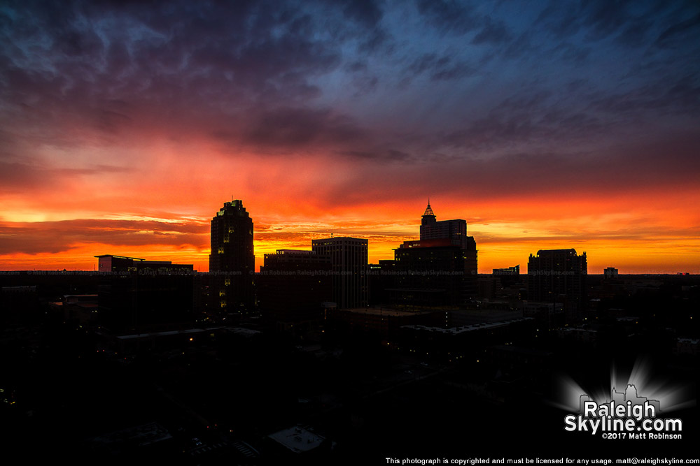 Sunset over downtown Raleigh from the east