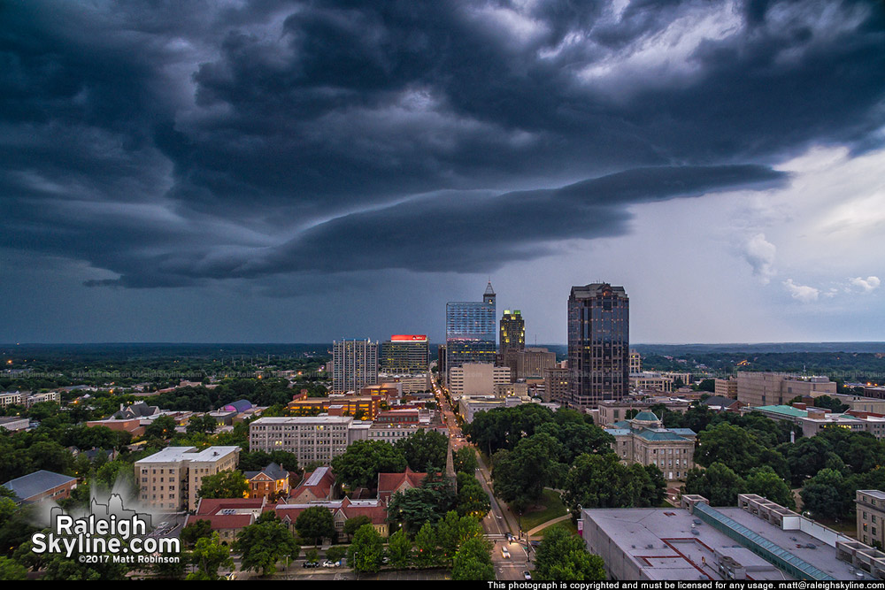 Storm clouds roll into downtown Raleigh