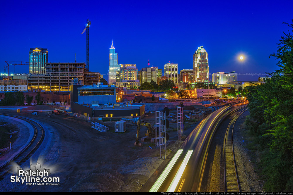 Amtrak and Downtown Raleigh at Sunset