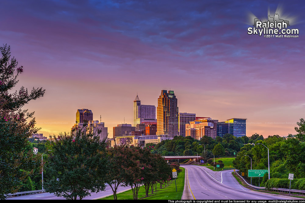 Just before sunset colors with Raleigh skyline