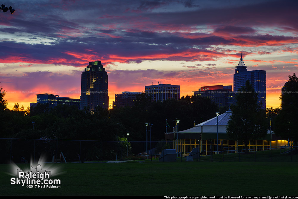 Raleigh skyline from Chavis Park with sunset