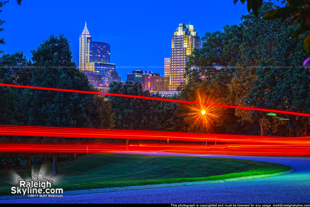 Brake lights through Dorothea Dix Park