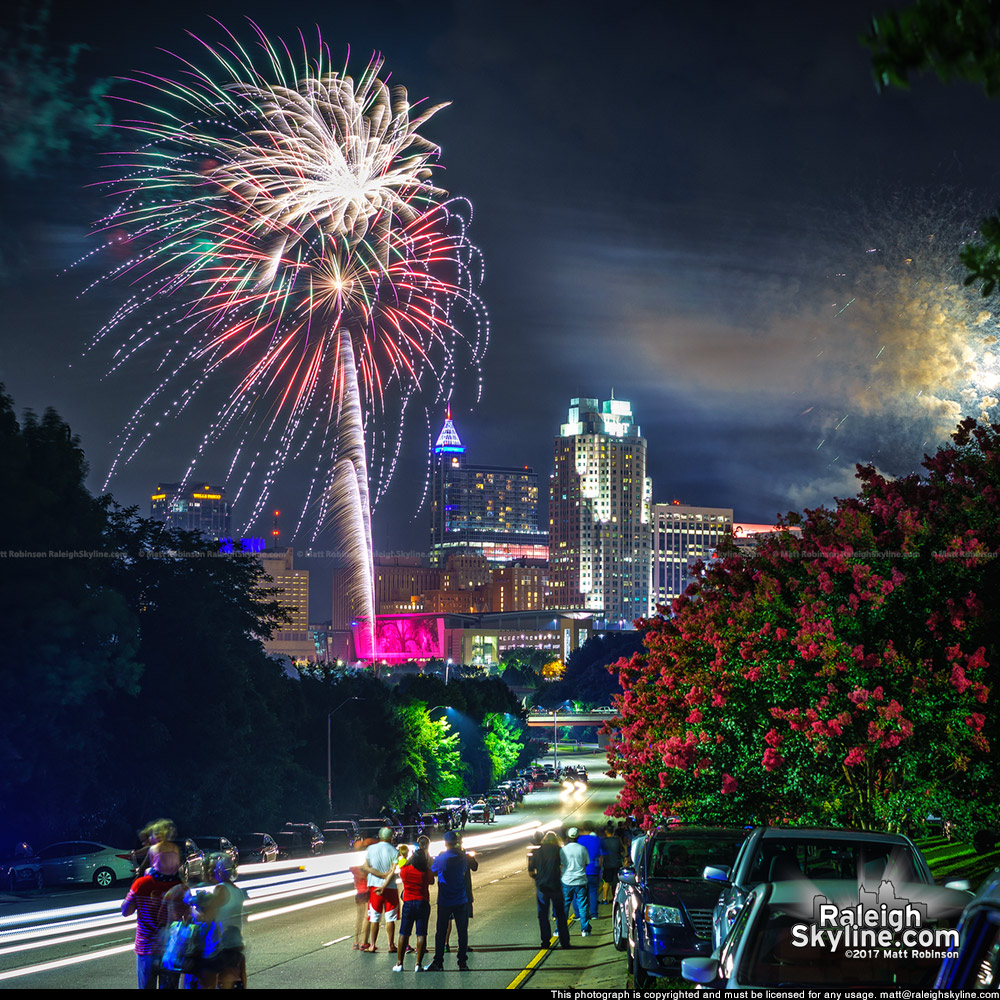 Fireworks from South Saunders Street over Raleigh